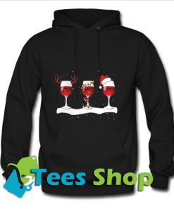 Three wine glasses with Christmas Hoodie