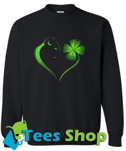 Cat Irish Four leaf clover heart Sweatshirt_SM1