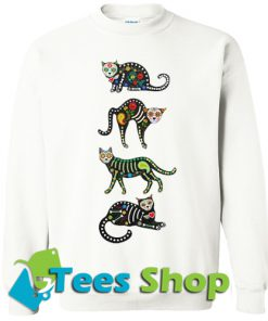 Crouching Day of the Dead Cat Sweatshirt_SM1