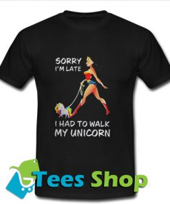 Wonder Woman Sorry I'm Late T Shirt_SM1