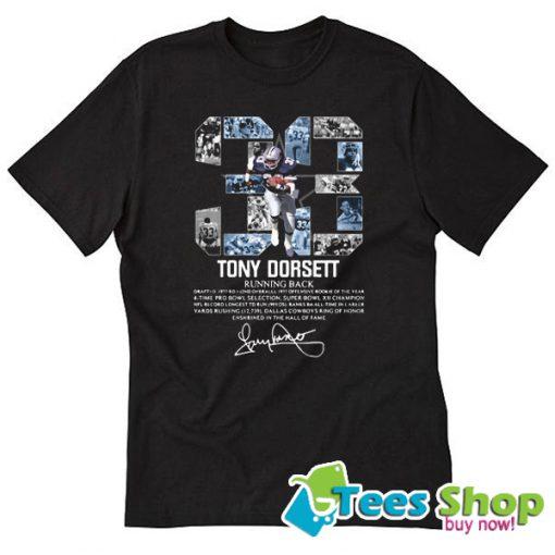 33 Tony Dorsett Running Back Signature T-Shirt STW