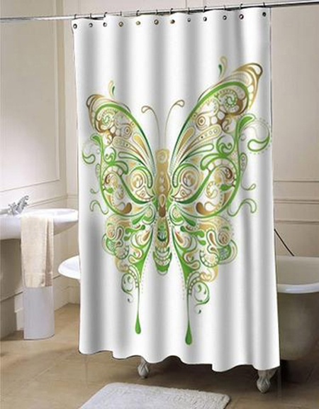 Abstract Floral Butterfly Shower Curtain AT
