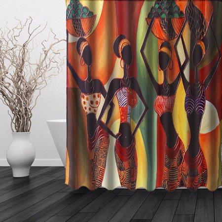 African Woman Waterproof Bathroom Shower Curtain AT