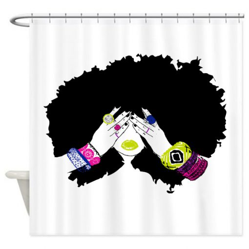 Afro Hair Shower Curtain AT
