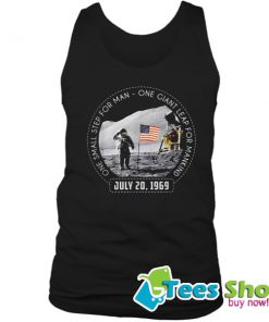 One Small Step For Man One Giant Leap For Mankind Austranaut American Flag Tank Top STW