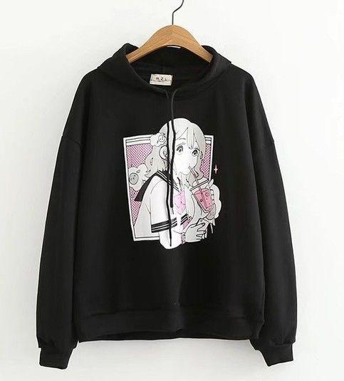 Anime prints black Hoodie